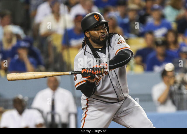 Los Angeles, California, USA. 20th Sep, 2016. San Francisco Giants catcher Johnny Cueto hits the ball against Los - Stock Image