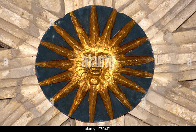 Sun roundel, ceiling Audignon church Landes, France - Stock Image