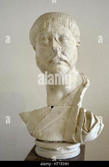 Bust of an unknown person. Eastern necropolis, near Via Augusta. 2nd century AD. Marble of Luni-Carrara. Located - Stock Image