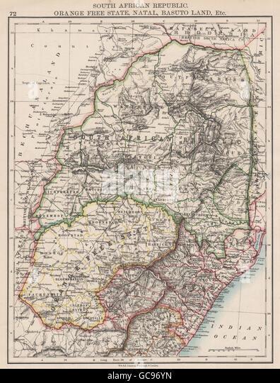 COLONIAL SOUTH AFRICA. Orange Free State Natal Basutoland SA Republic, 1897 map - Stock Image