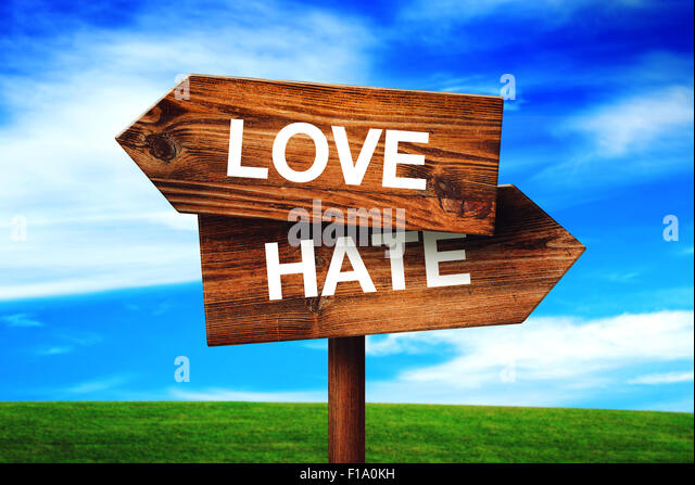 Love or Hate Choice Concept, Direction Signpost with Grassland and Blue Sky as Background. - Stock Image