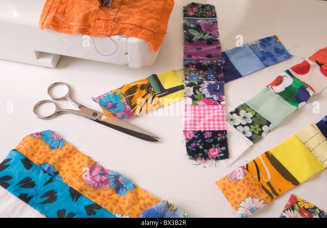 still life of colourful textiles - Stock Image