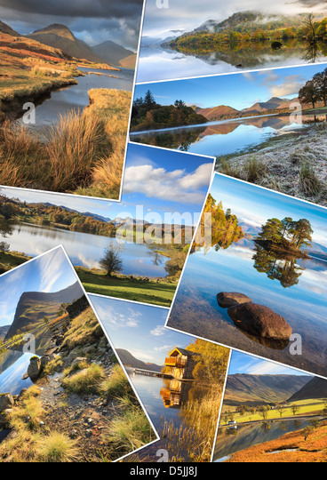 A montage of 8 images of the Lake District National Park - Stock Image