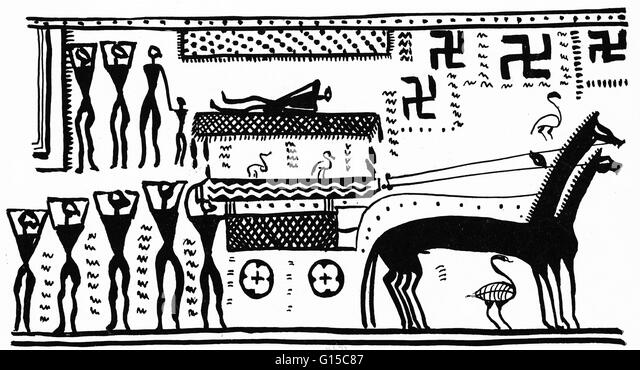 Athenian chariot. Illustration from 'Der Wagen in der Religion' by Prausnitz. - Stock Image