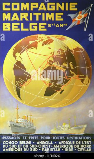 Maritime Poster Belgium Congo - Stock-Bilder