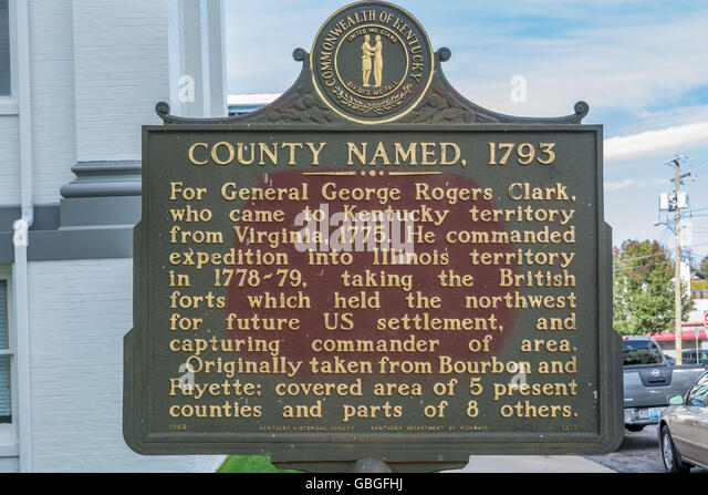 Historic road monument map for the naming of Clark County Kentucky in 1793 - Stock Image