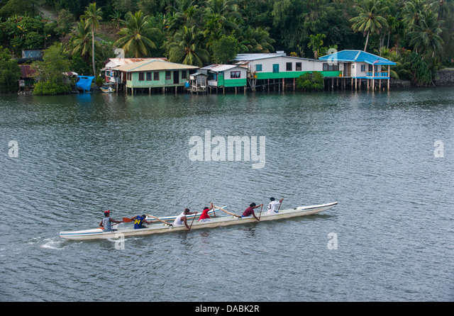 Local people training for the rowing championship on the island of Yap, Federated States of Micronesia, Caroline - Stock Image
