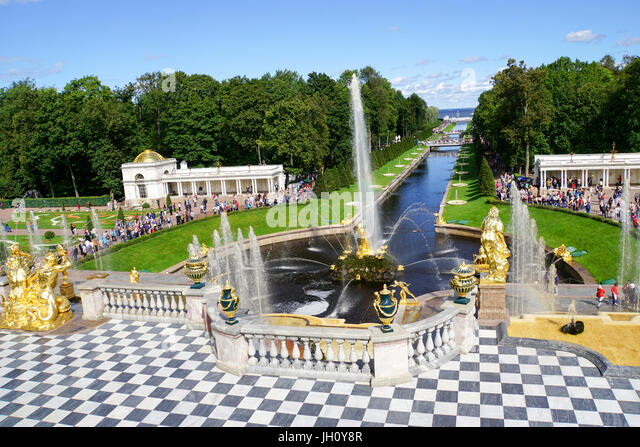 Peterhof Palace Grand Cascade with fountains and gardens in summer located near Saint Petersburg, - Stock Image