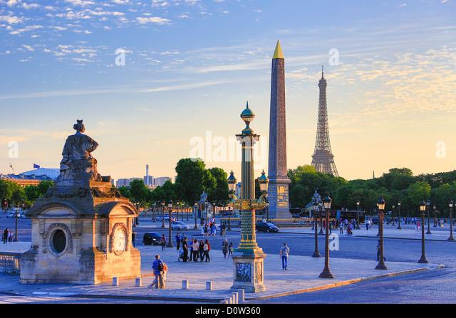 France, Europe, travel, Paris, City, Concorde, Square, architecture, art, artistic, center, central, downtown, Eiffel, - Stock Image