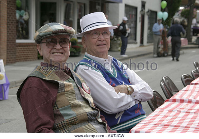 West Virginia Lewisburg Taste of Our Towns active senior males - Stock Image