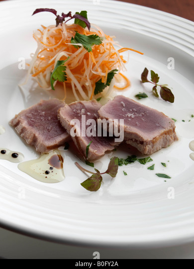 Grilled tuna seafood fine dining editorial food - Stock Image