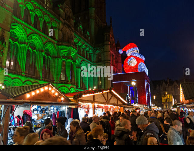 December Christmas Market in Manchester UK at night - Stock Image