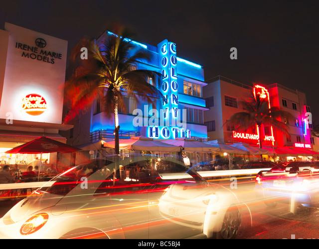 miami south beach art deco neon stock photos miami south. Black Bedroom Furniture Sets. Home Design Ideas