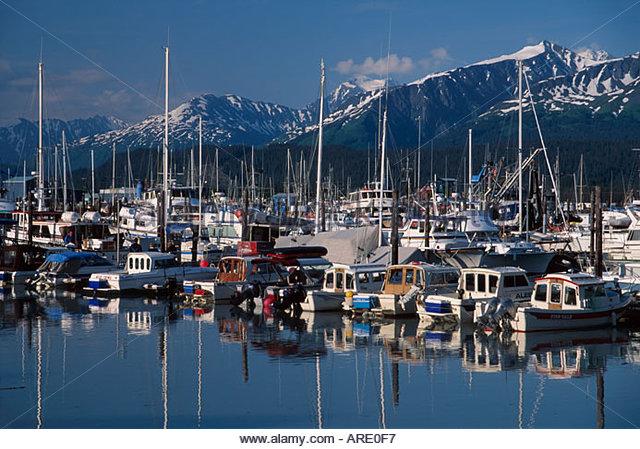 Alaska Seward Municipal Boat Harbor Chugah Range beyond - Stock Image