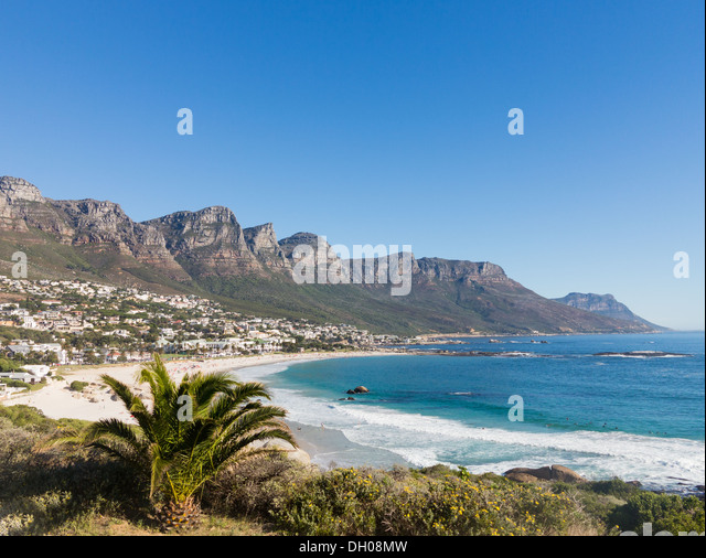 Beach at Camps Bay Cape Town with Table Mountain in background - Stock Image