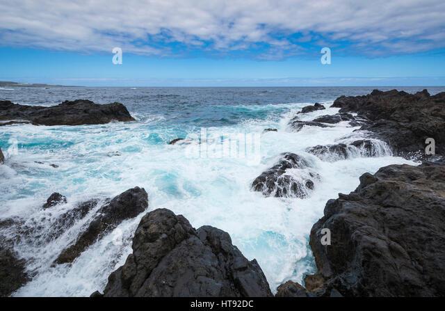 Lava Rock Coast at Garachico, Tenerife, Canary Islands, Spain - Stock Image