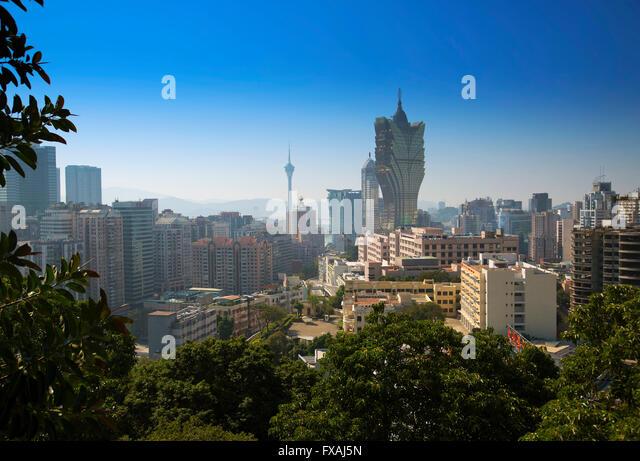 Casino Grand Lisboa and Macau Tower in the background, Macau, China - Stock Image