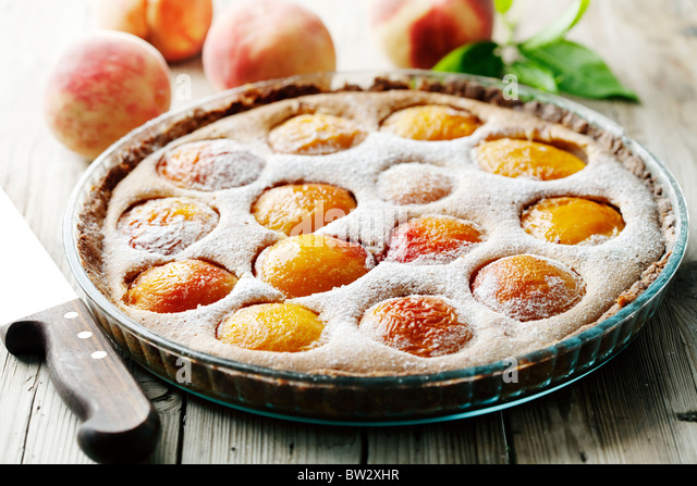delicious homemade peach tart, made with fresh organic ingredients - Stock Image