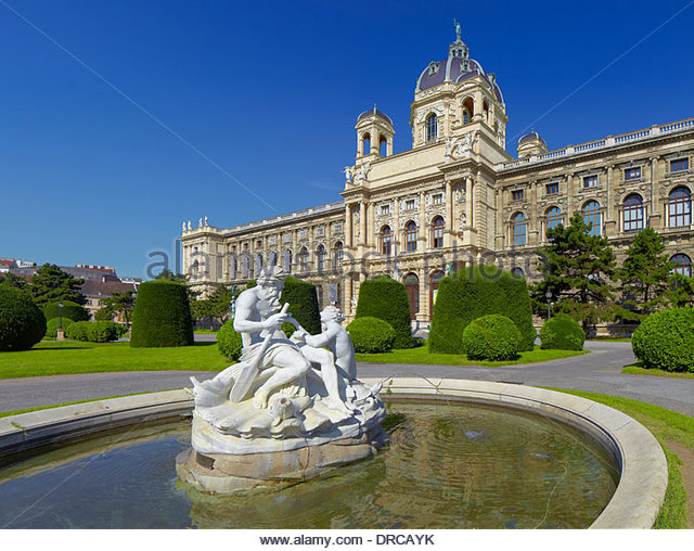 the maria theresien platz square with the natural history museum, vienna city, austria, europe - Stock Image