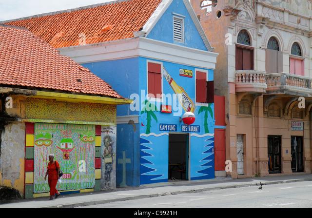 Curaçao Netherlands Antilles Dutch Willemstad Otrobanda Breedestraat UNESCO World Heritage Site student street - Stock Image
