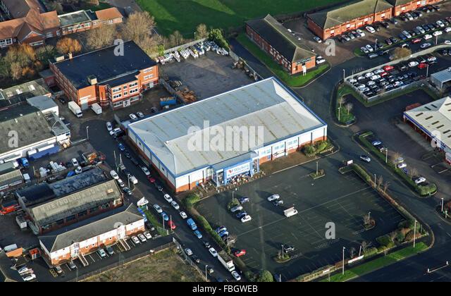aerial view of Wickes DIY building merchants in Blackpool, UK - Stock Image