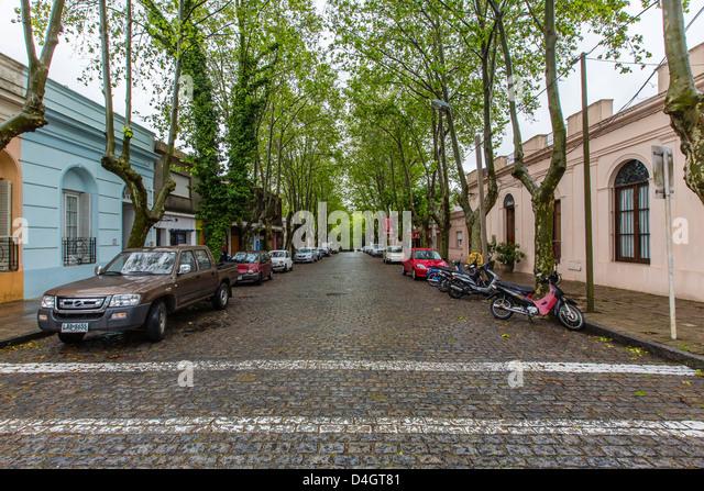 Cobblestone street in Colonia del Sacramento, Uruguay, South America - Stock Image