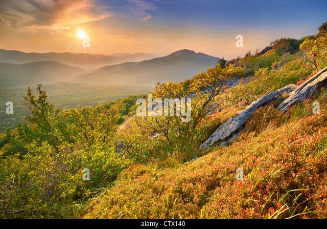 Autumn landscape in Bieszczady National Park, Poland - Stock Image