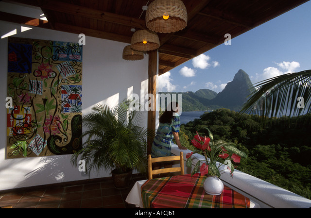 West Indies St. Lucia Anse Chastanet Resort guest room view balcony Les Pitons mountains Soufriere Bay - Stock Image