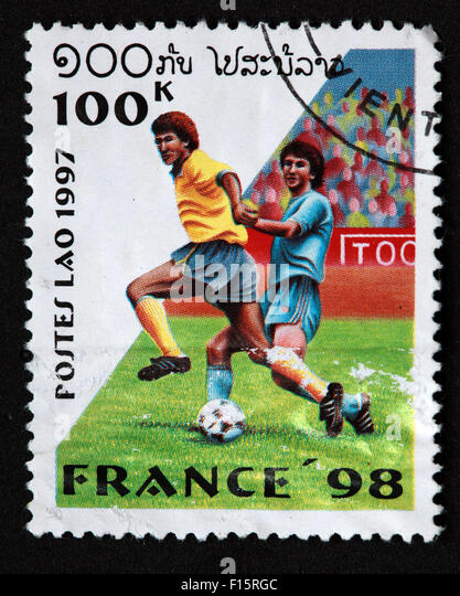 Postes Lao Laos 100K France 1998 98 football deportes world Cup worldcup sport stamp - Stock Image