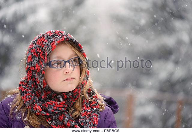 Portrait of girl (10-12) outside - Stock Image