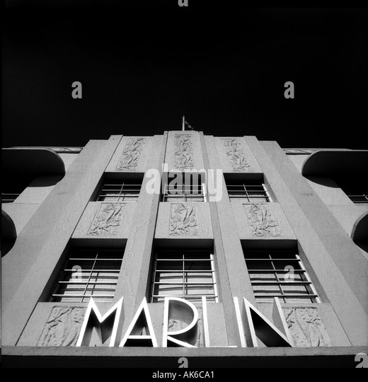 Facade of the Marlin hotel in Miami s South Beach Art Deco District - Stock-Bilder