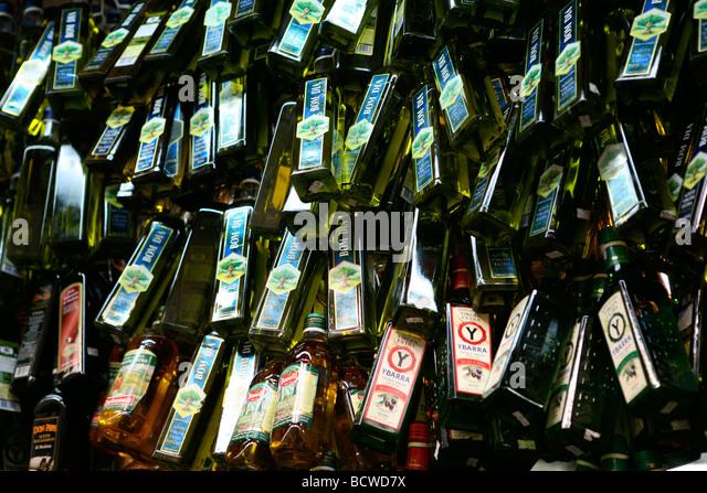 Wine bottles for sale in a liquor store, Sao Paulo, Sao Paulo State, Brazil - Stock Image