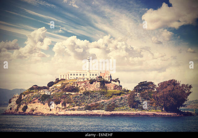 Vintage picture of Alcatraz Island in San Francisco, USA. - Stock Image