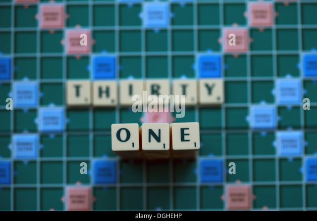 ThirtyOne the number 31 on a scrabble game board - Stock Image