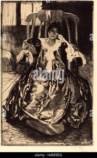 Albert Besnard, French (1849-1934), The Silk Gown (La robe de soie), 1887, etching - Stock-Bilder
