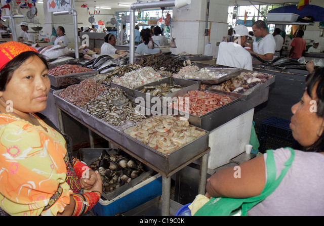Panama City Panama Ancon Mercado de Mariscos market merchant shopping retail selling shrimp shellfish seafood business - Stock Image