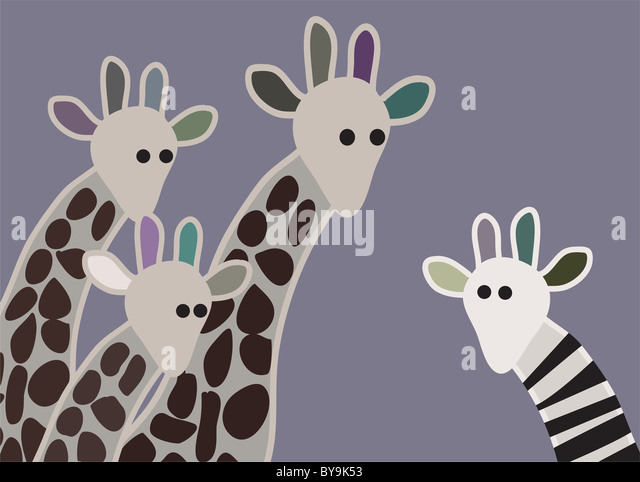 Giraffe family looking surprised, with giraffe in different marking - Stock Image