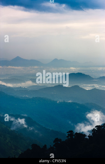the Ella Gap at dusk, southern hill country, Sri Lanka - Stock Image