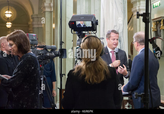 Stockholm, Sweden. 12th Sep, 2017. Opening of the Riksdag. Mingle and interviews after the session. Anders Ygeman, - Stock Image