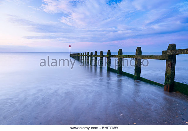 Groyne at Dawlish Warren, East Devon. - Stock Image