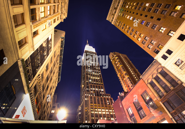 NEW YORK CITY - SEPT 13: Landmark Empire State and surrounding buildings in midtown Manhattan on night of Sept. - Stock Image