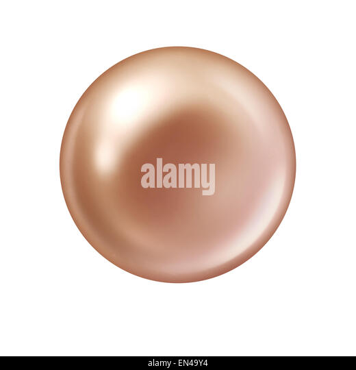 Pearl isolated on a white background as an object  metaphor for a rare jewel from a sea shell as a symbol for natural - Stock Image