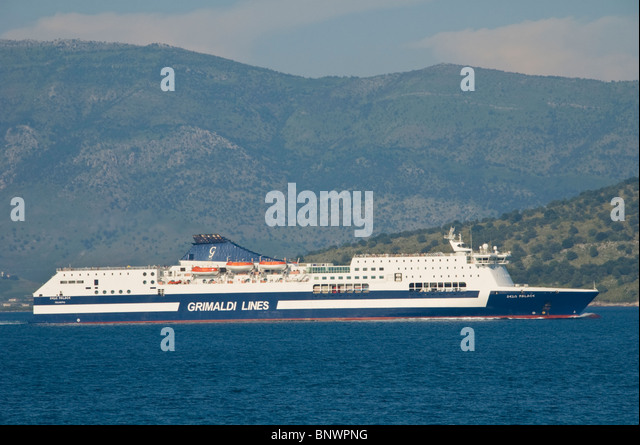 GRIMALDI LINES ferry Zeus Palace off the Greek island of Corfu Greece GR - Stock Image