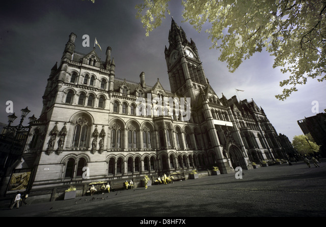 Manchester gothic town hall , Albert Square, Manchester, England taken with an IR adapted Canon 5D DSLR camera M2 - Stock Image