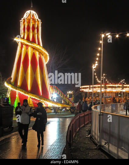 Traditional fairground attractions at Night at Edinburgh's Hogmanay Scotland - Stock Image