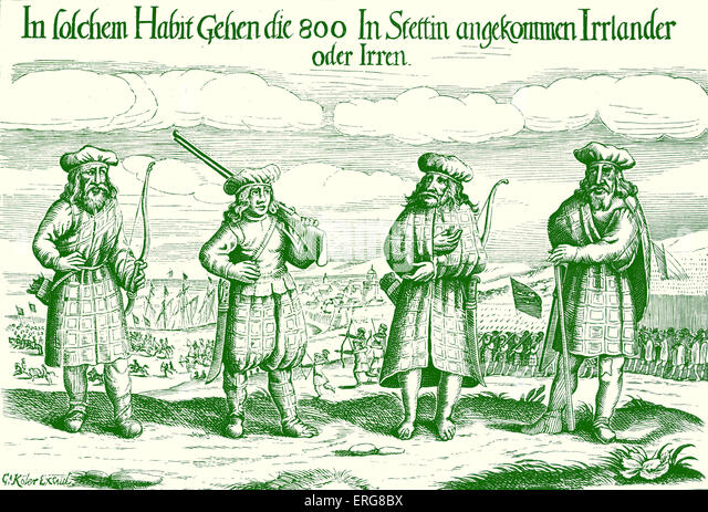 Irish soldiers in service of Gustavus Adolphus, 1631, taken from a nineteenth century German broadside. Gustav II - Stock Image