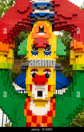Legoland Florida two Lego clowns with one balancing on top of the other, Winter Have, FL - Stock Image