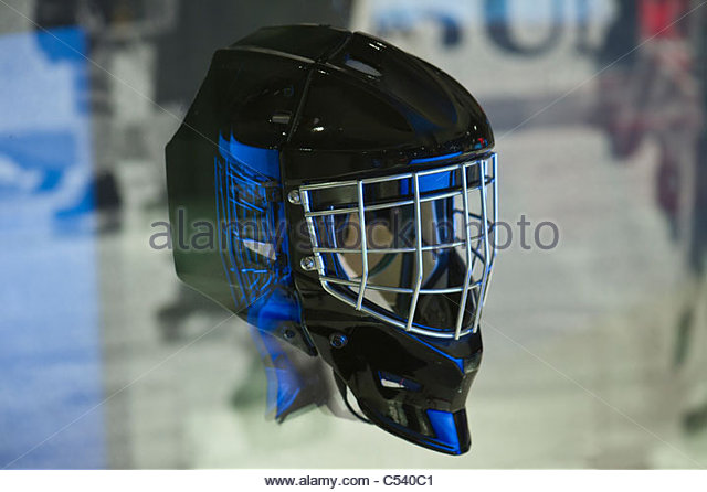 Ice hockey goalie mask at Canada's Sports Hall of Fame in Calgary, Alberta, Canada - Stock Image