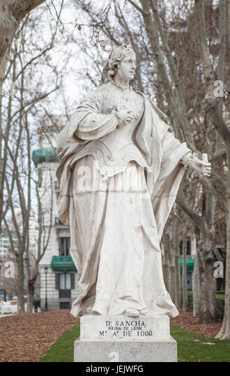 Madrid, Spain - february 26, 2017: Sculpture of Sancha of Leon at Plaza de Oriente, Madrid. She was Queen of Leon, - Stock Image