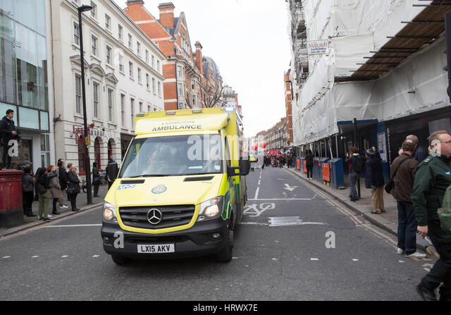 London, UK. 4th Mar, 2017. National demonstration to defend the NHS a ambulance pull out in front off the march - Stock Image